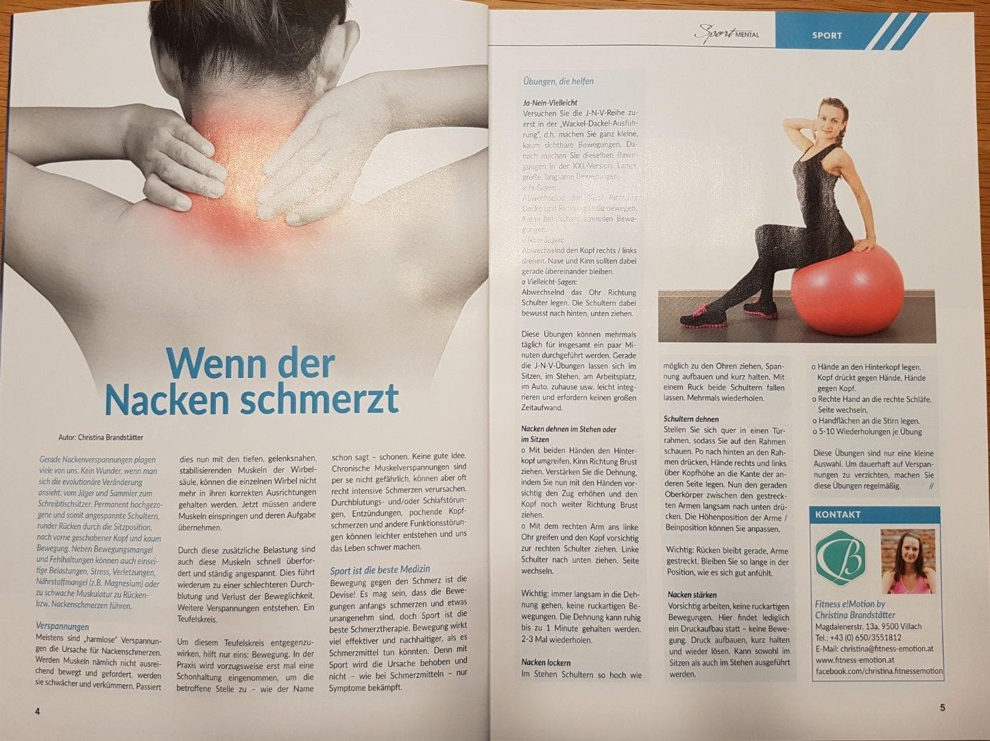 Sportmental Magazin Nackenschmerzen Training Krafttraining Mobilisieren