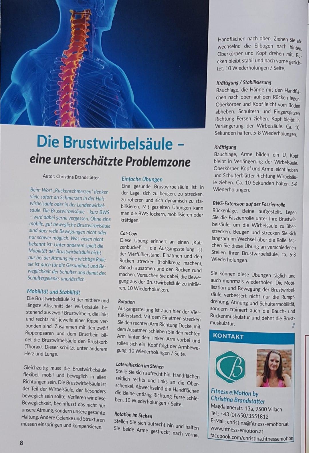 Sportmental Magazin Brustwirbelsäule unterschätzte Problemzone