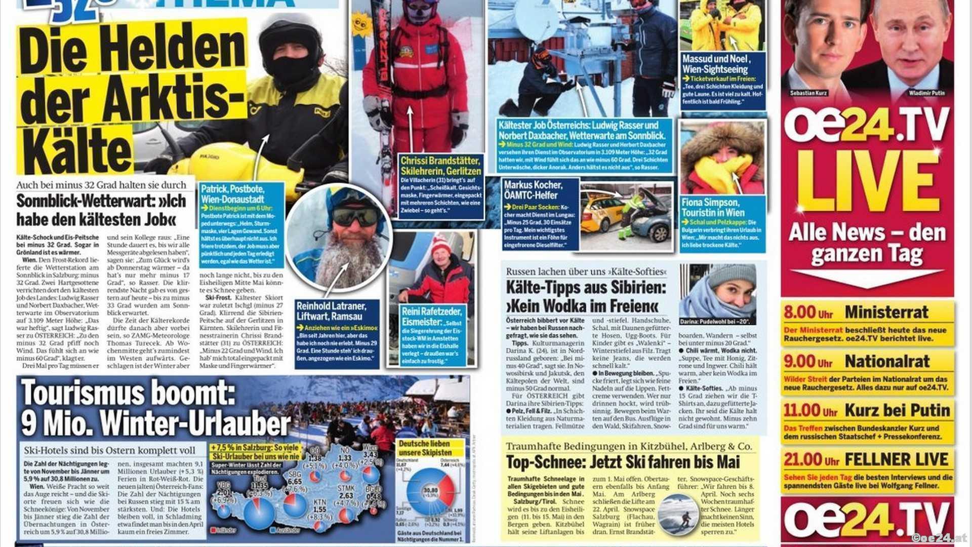 Arktis-Kälte Eiskalt Skifahren Skilehrer Arbeitn im Freien